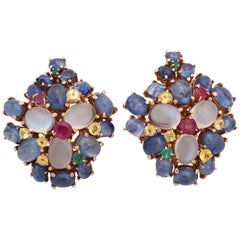 1950s Fun Multicolored Stone Cluster Gold Clip on Earrings with Fancy Backs