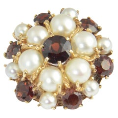 1950s Garnet and Pearl Yellow Gold Dome Ring