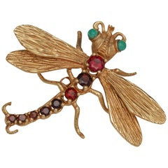 1950s Garnet and Turquoise 14 Karat Gold Dragonfly
