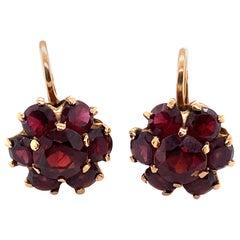 1950s Garnet Cluster Earrings in 14 Karat Yellow Gold