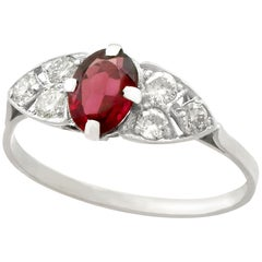 1950s Garnet Diamond Platinum Cocktail Ring