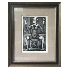 1950s Georges Rouault Woodcut Clown Assis
