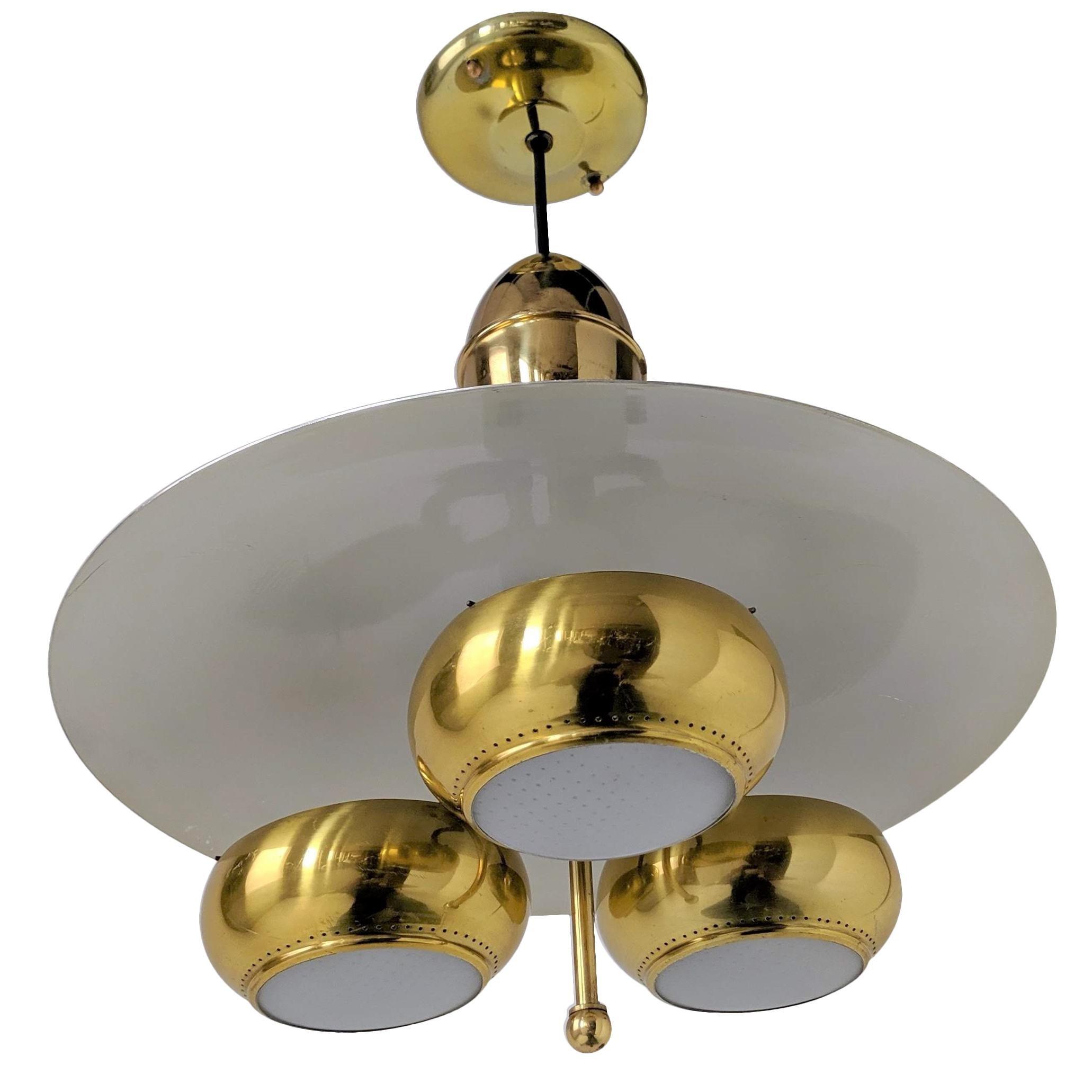 1950s brassglasswalnut chandelier by Moe