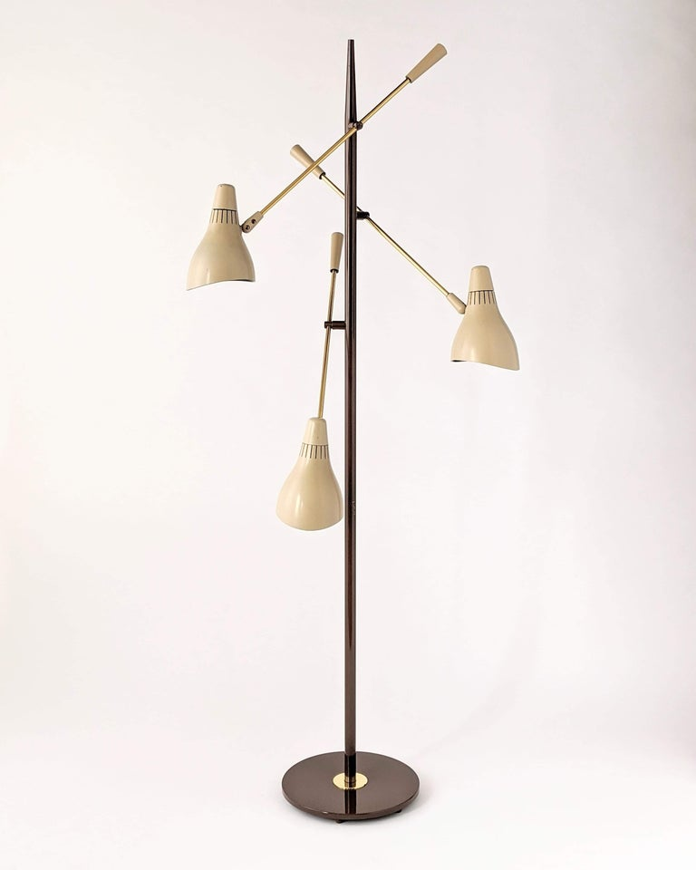 Mid-Century Modern 1950s Gerald Thurston Triennale Floor Lamp for Lightolier, USA For Sale