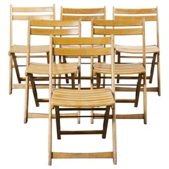 1950s German Beech Folding Dining Chairs, Set of Six