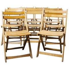 1950s German Beech Folding Dining Chairs, Set of Twelve