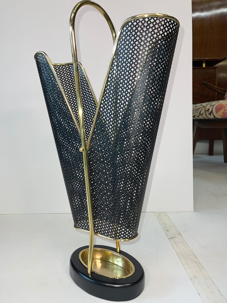1950's German Brass and Perforated Metal Umbrella Stand For Sale 5