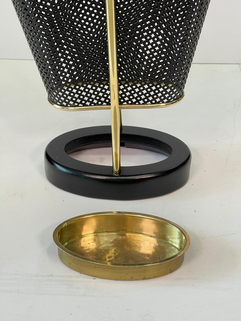 1950's German Brass and Perforated Metal Umbrella Stand For Sale 7