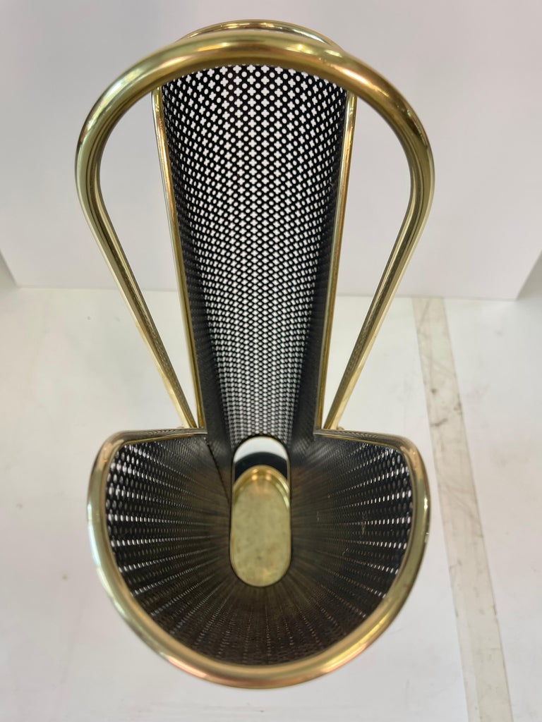 1950's German Brass and Perforated Metal Umbrella Stand For Sale 9