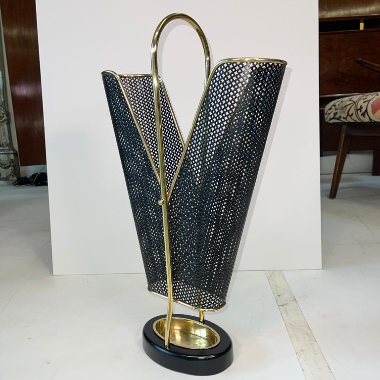 Mid-Century Modern 1950's German Brass and Perforated Metal Umbrella Stand For Sale