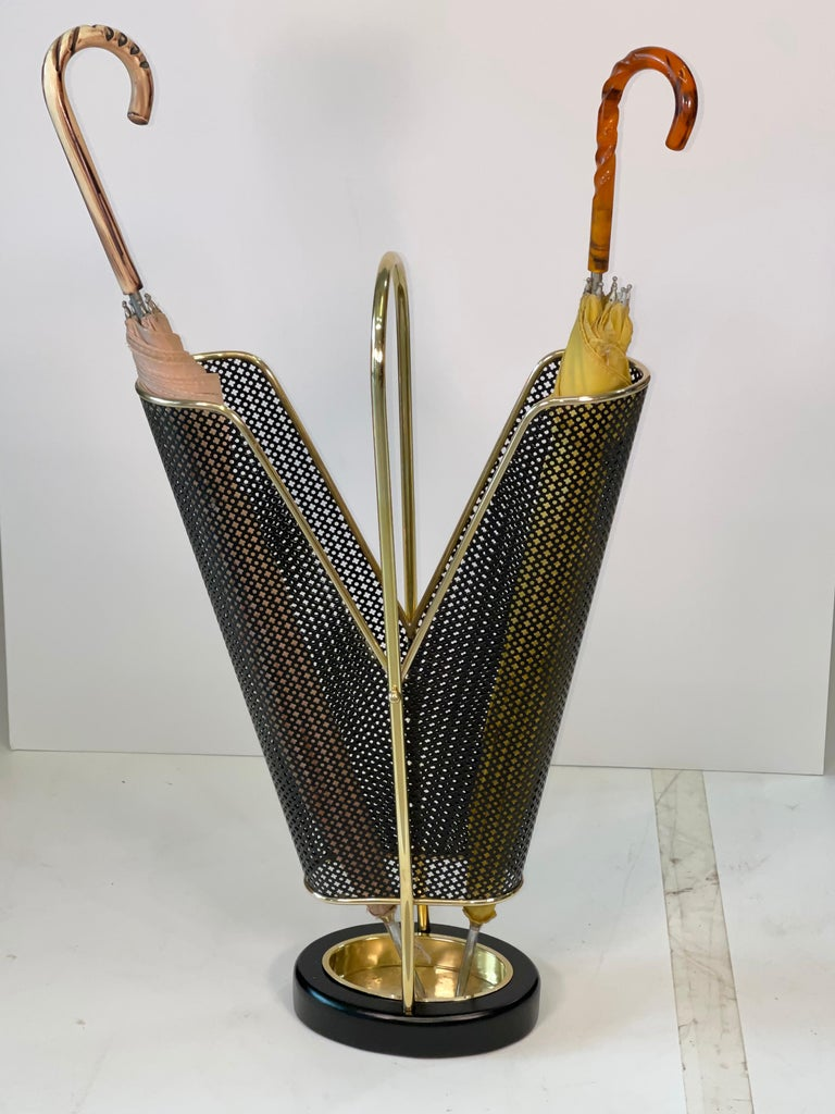 1950's German Brass and Perforated Metal Umbrella Stand In Good Condition For Sale In Hingham, MA