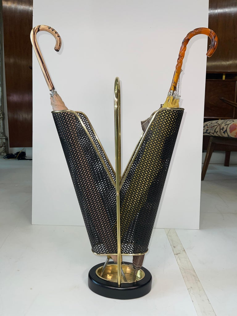 1950's German Brass and Perforated Metal Umbrella Stand For Sale 1