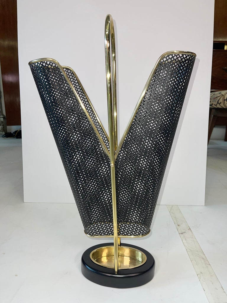 1950's German Brass and Perforated Metal Umbrella Stand For Sale 3