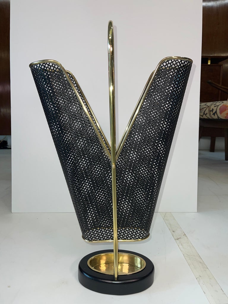 1950's German Brass and Perforated Metal Umbrella Stand For Sale 4