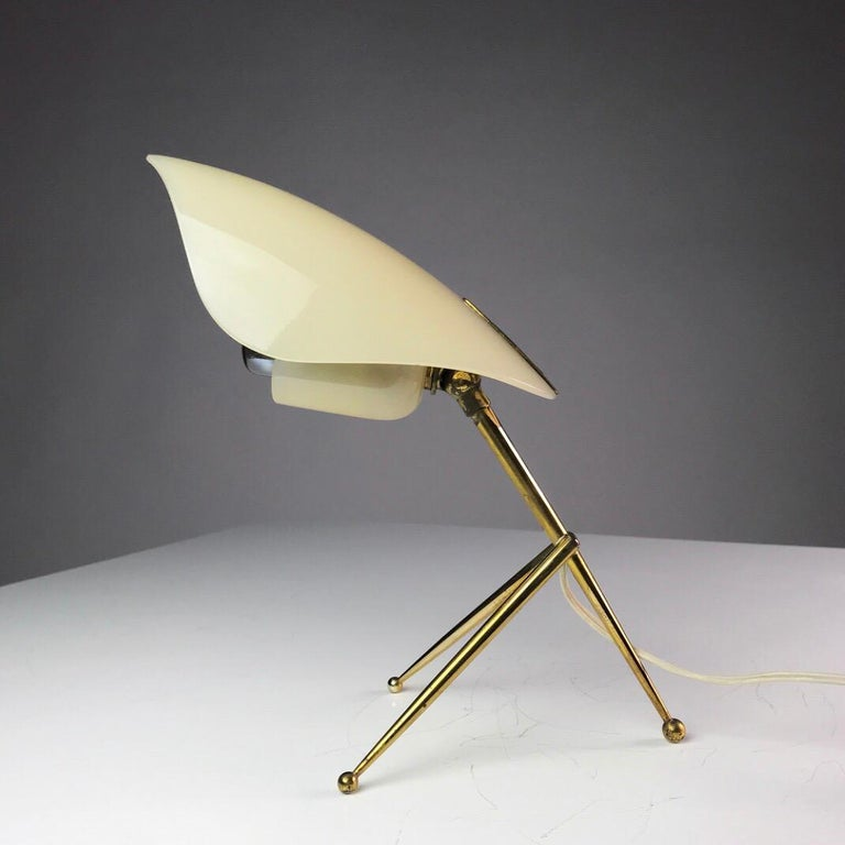1950s German Brass Table Lamps Stilnovo Style with Perspex Tulip Shaped Shades For Sale 6
