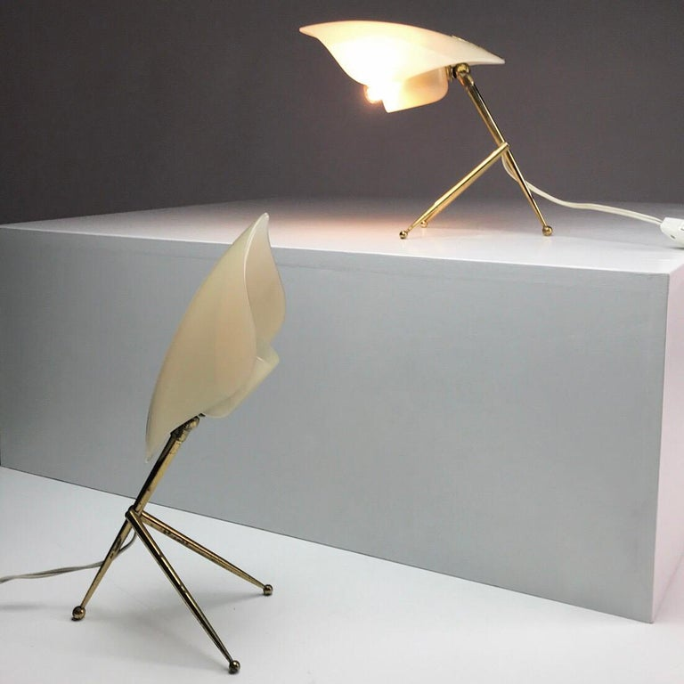 1950s German Brass Table Lamps Stilnovo Style with Perspex Tulip Shaped Shades For Sale 10