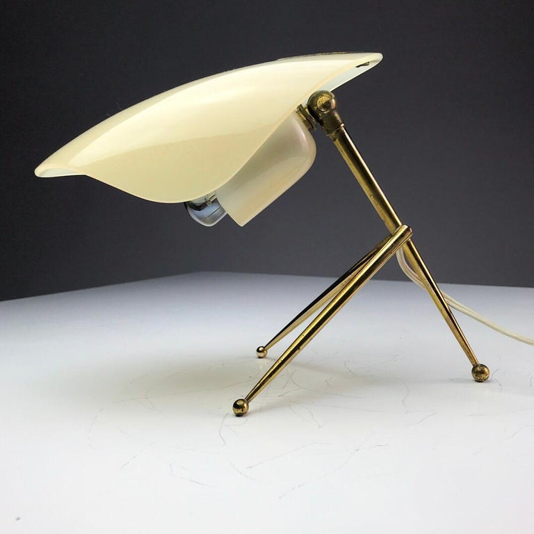 Mid-Century Modern 1950s German Brass Table Lamps Stilnovo Style with Perspex Tulip Shaped Shades For Sale