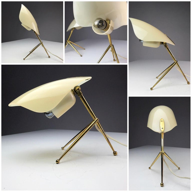Mid-20th Century 1950s German Brass Table Lamps Stilnovo Style with Perspex Tulip Shaped Shades For Sale