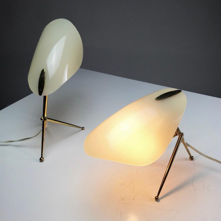 1950s German Brass Table Lamps Stilnovo Style with Perspex Tulip Shaped Shades For Sale 2