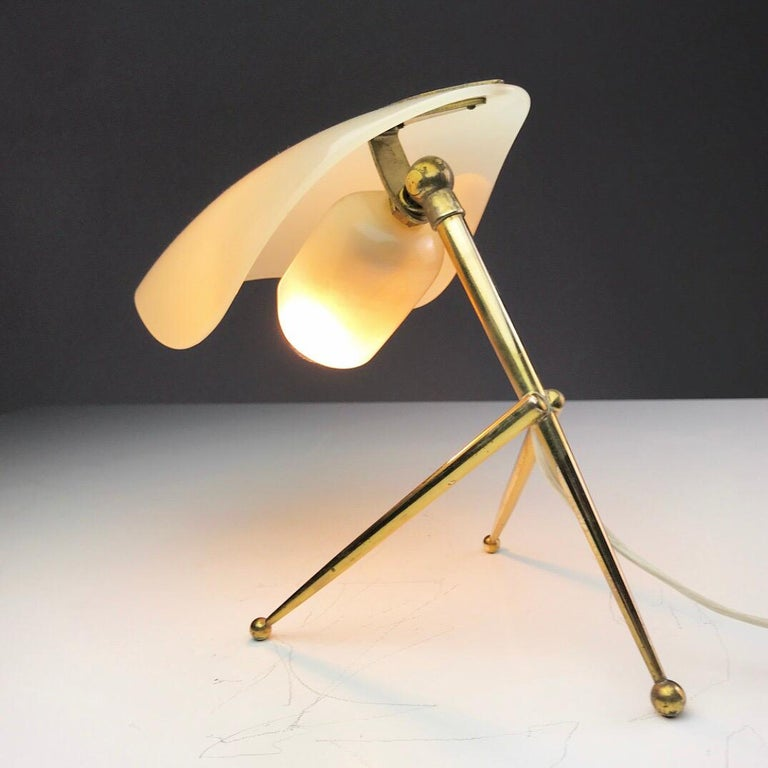 1950s German Brass Table Lamps Stilnovo Style with Perspex Tulip Shaped Shades For Sale 4