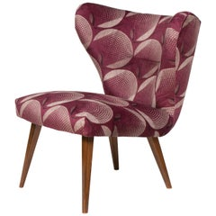 1950s German Cocktail Chair in Arley House Corona Plum Fabric