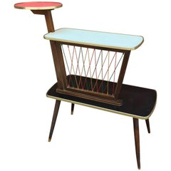 1950s German Colorful Laminate End Table