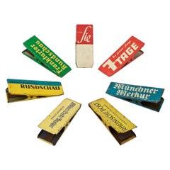 1950s German Newspaper Advertising Tin Clips Midcentury Graphic Design Set