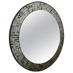 1950s German Round Mosaic Wall Mirror