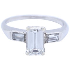1950s GIA 0.96 Carat G VVS2 Emerald Cut Diamond Platinum Engagement Ring