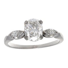1950s GIA 1 Carat Cushion Cut Diamonds Platinum Engagement Ring