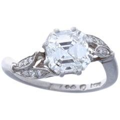 1950s GIA 2.05 Carat G VS2 Square Emerald Cut Diamond Platinum Ring