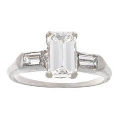 1950s GIA G VVS2 0.96 Carat Diamond Platinum Ring