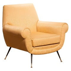 1950s, Gigi Radice for Minotti Easy Chair in Golden Jacquard and Slim Brass Legs