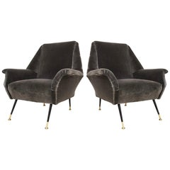 1950s Gigi Radice for Minotti Italian Vintage Pair of Gray Velvet Armchairs