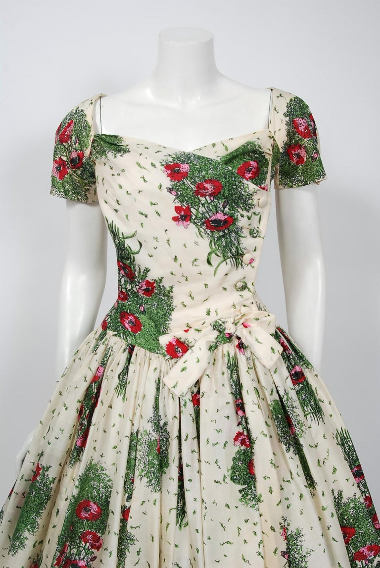7374b29c5c057f Stunning 1950's Gigi Young designer floral print dress fashion in a. Gray 1950's  Gigi Young Floral Garden Print Silk Sweetheart Plunge Circle-Skirt ...