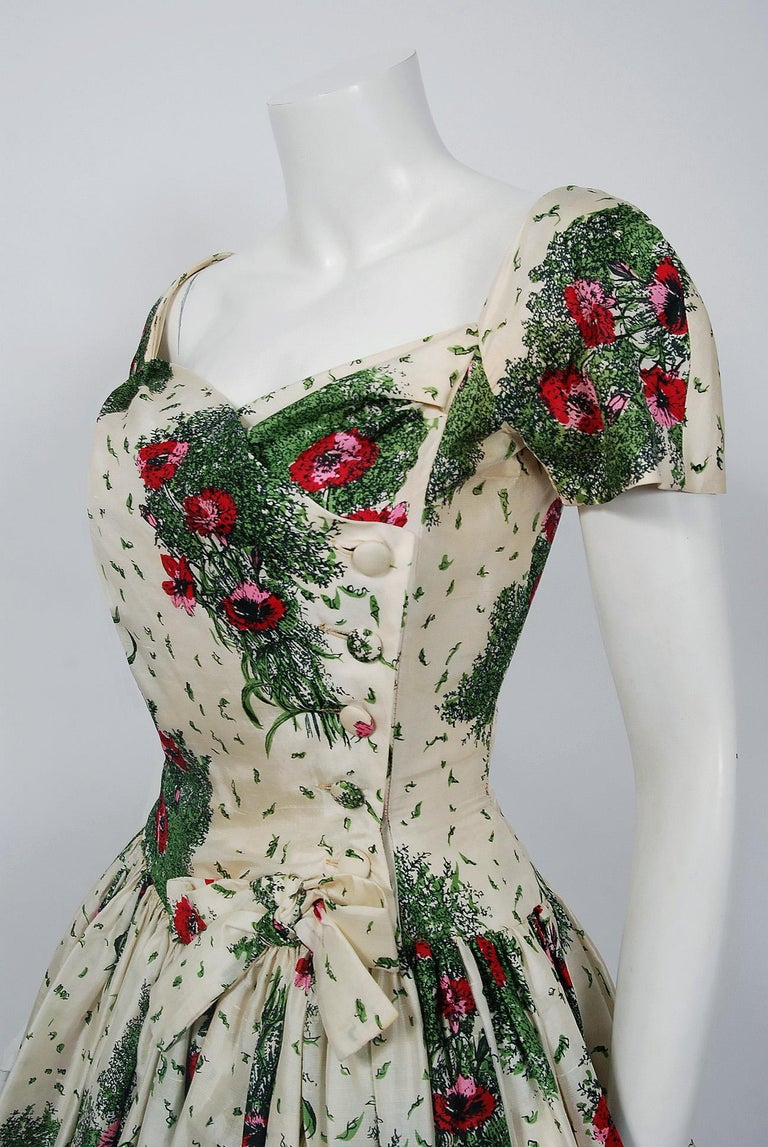 d229a97c305078 Gray 1950's Gigi Young Floral Garden Print Silk Sweetheart Plunge Circle-Skirt  Dress For Sale