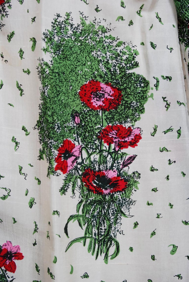 6115e1d4649b88 Women's 1950's Gigi Young Floral Garden Print Silk Sweetheart Plunge Circle-Skirt  Dress For Sale