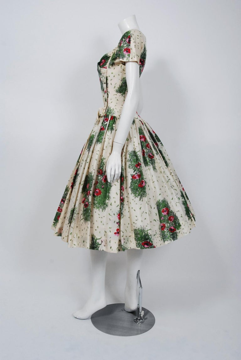 2a6f601a75d2a7 1950's Gigi Young Floral Garden Print Silk Sweetheart Plunge Circle-Skirt  Dress For Sale 1