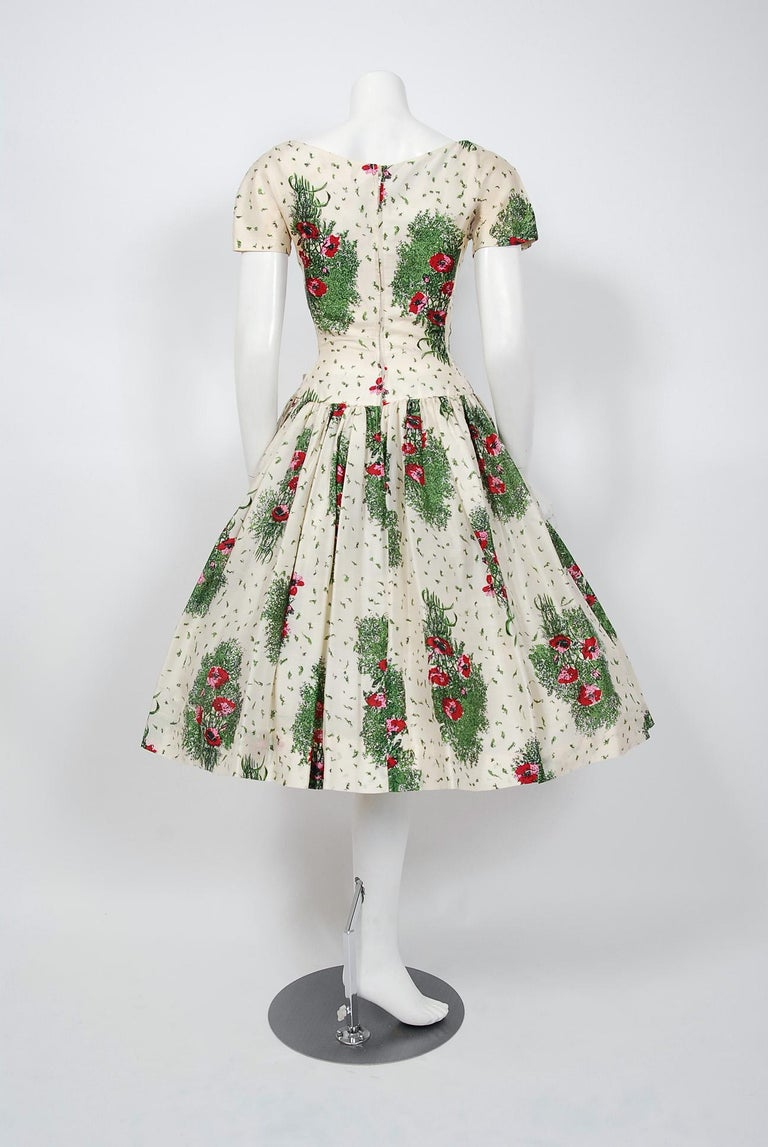 0b48c45a4fea55 1950's Gigi Young Floral Garden Print Silk Sweetheart Plunge Circle-Skirt  Dress For Sale 2