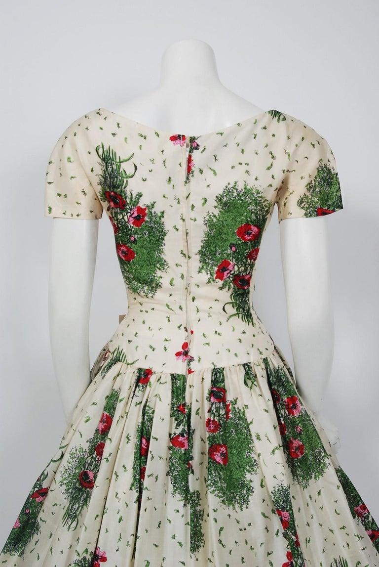 0015d9aabde2d5 1950's Gigi Young Floral Garden Print Silk Sweetheart Plunge Circle-Skirt  Dress For Sale 3