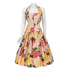 1950's Gigi Young Pink & Yellow Roses Floral Print Silk Halter Full-Skirt Dress