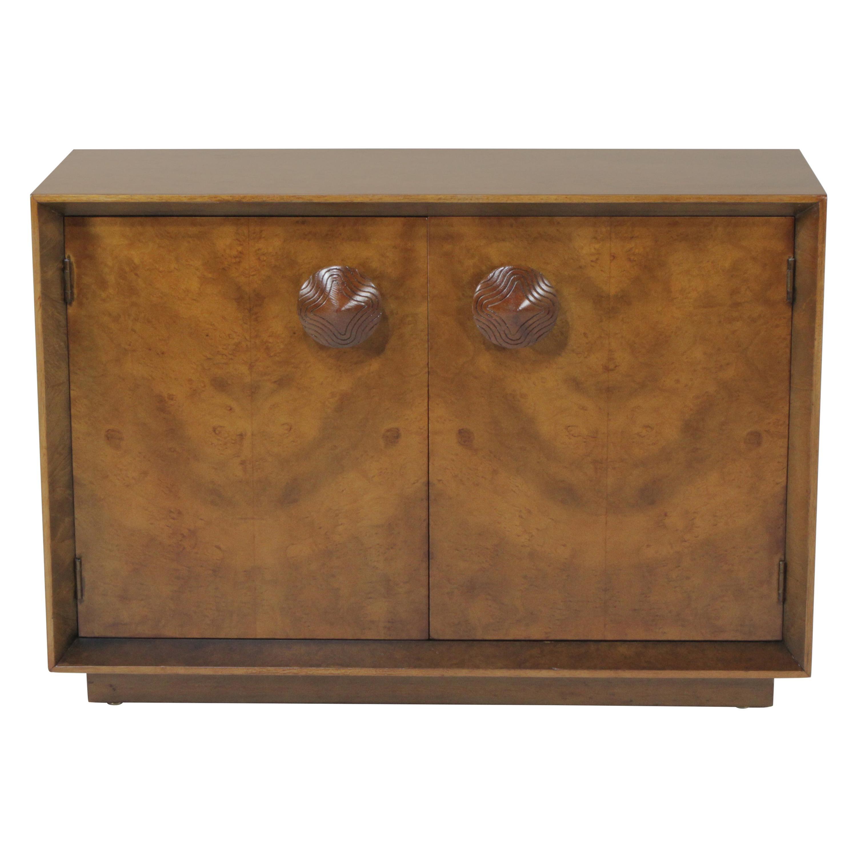 1950s Gilbert Rohde for Herman Miller Two-Door Paldao Burl Cabinet