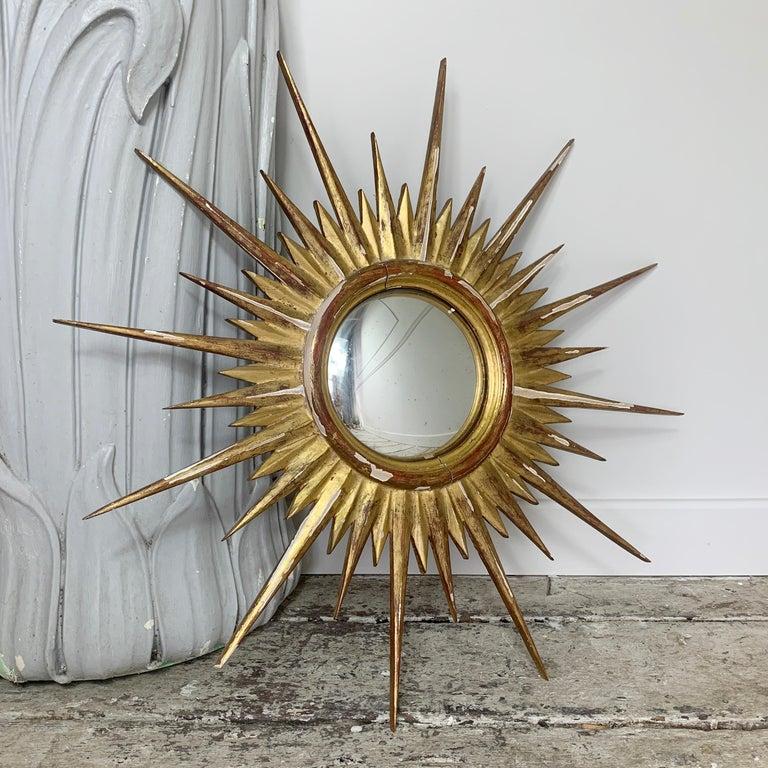Mid-Century Modern 1950'S Gilt Convex Sunburst Mirror For Sale