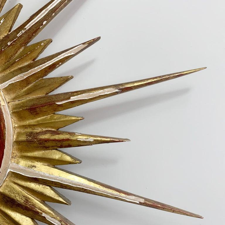 French 1950'S Gilt Convex Sunburst Mirror For Sale