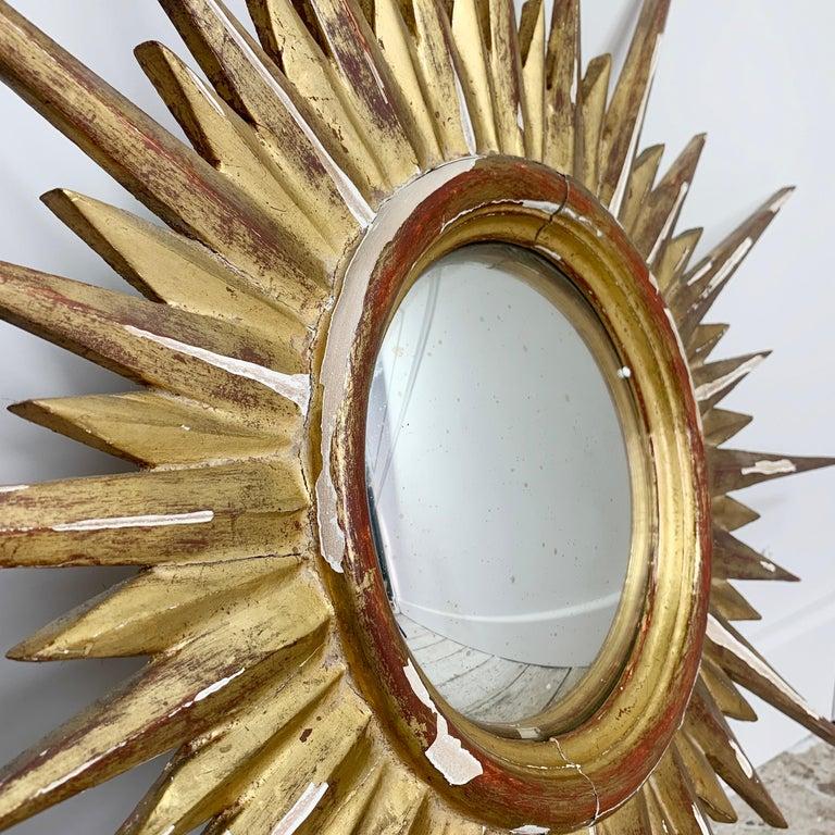 Hand-Crafted 1950'S Gilt Convex Sunburst Mirror For Sale