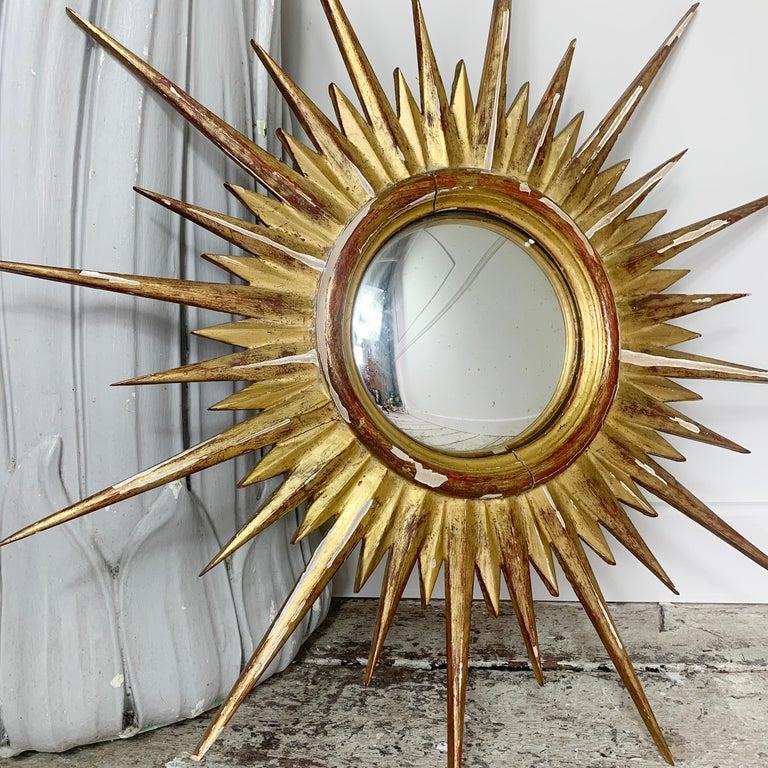 1950'S Gilt Convex Sunburst Mirror In Good Condition For Sale In Hastings, GB