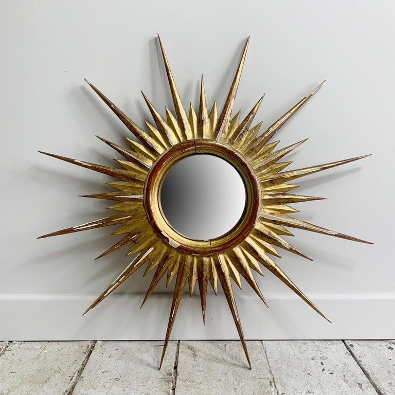 Wood 1950'S Gilt Convex Sunburst Mirror For Sale