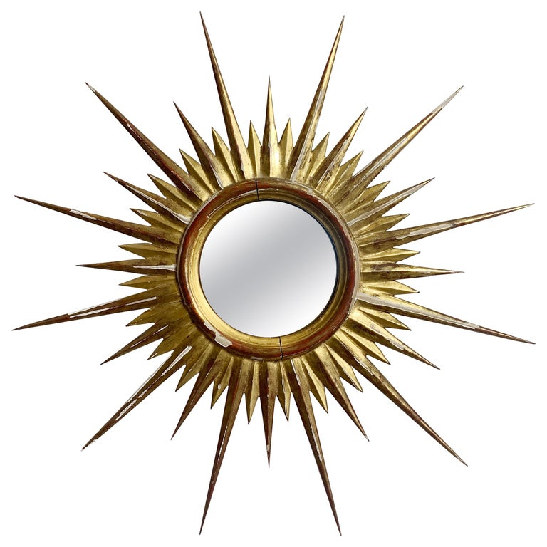 1950'S Gilt Convex Sunburst Mirror For Sale