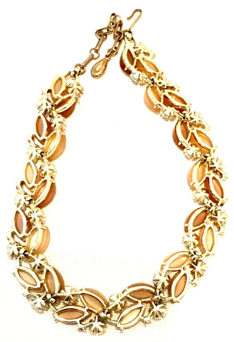1950'S Gilt Gold Lucite & Austrian Crystal Necklace And Earrings S/3 By, Lisner For Sale 6
