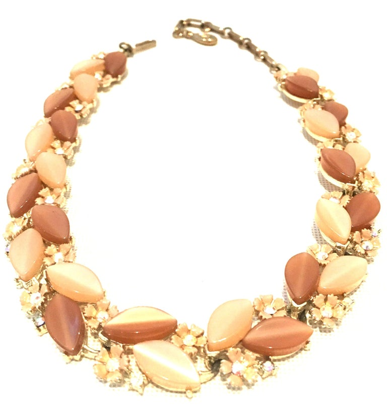1950'S Gilt Gold Lucite & Austrian Crystal Necklace And Earrings S/3 By, Lisner In Good Condition For Sale In West Palm Beach, FL